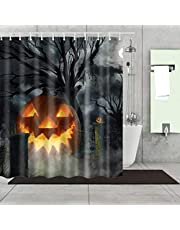 Mantto Happy Halloween Shower Curtain Sets Decorative Decor Gift Modern Bathroom Curtain Polyester Fabric Waterproof Bathing Curtain with Hooks 72x72 inches