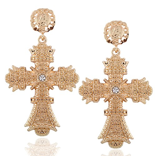 Women Golden Alloy Rhinestone Big Cross Drop Dangle Earrings, 3.34x1.96in - Cross Rhinestone Earrings