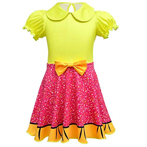 (Girls Ballet Design Ballerina Style Printed Halloween Dress Cosplay Party Christmas Costumes Doll Surprise (Yellow,)