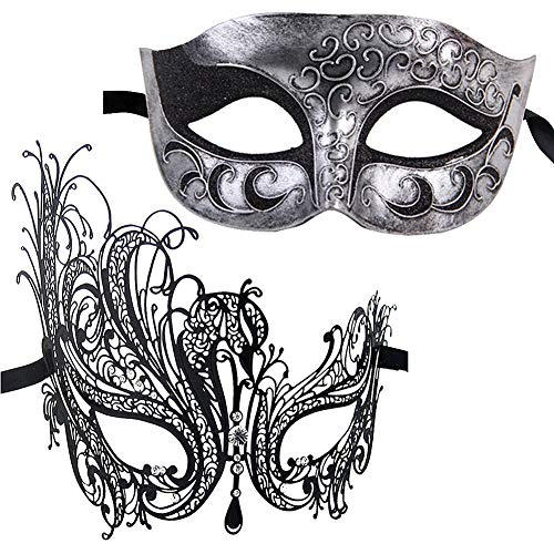 Xvevina Masquerade Mask for Couples Fashion Gifts Costume Accessory (Swan Couple) -