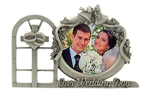 Pewter Religious Our Wedding Day Wedding Cross Table Top Picture Frame, 3 Inch by Religious Picture Frame