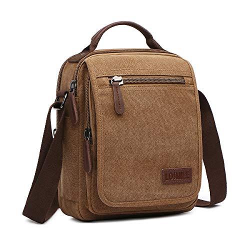 1ed112fa0 LOSMILE Bolsos Bandolera Hombre Pequeñas Bolsos de mano Bolsa de Hombro  Messenger Bag Bolsa de Lona para iPad mini Escolares Sport Casual(Caqui):  Amazon.es: ...
