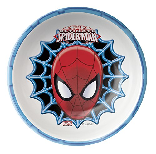 (Zak! Designs Cereal Bowl with Ultimate Spiderman Graphics, Break-resistant and BPA-free Melamine)