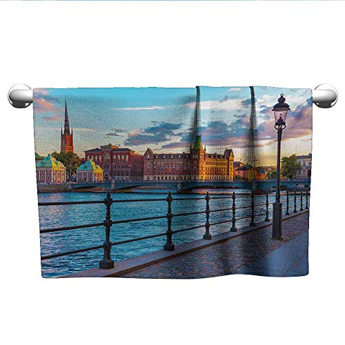 - Cityscape,Hair Towel Scandinavian Stockholm Old Town Sweden by Lake Gamla Stan View Autumn Day Scenery Bath Towels for Kids Multicolor W 14