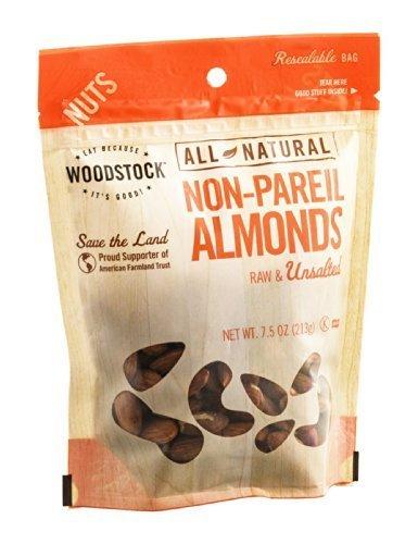 Woodstock Non-Pareil Almonds Raw & Unsalted 7.5 OZ (Pack of (Non Pareil Almonds)