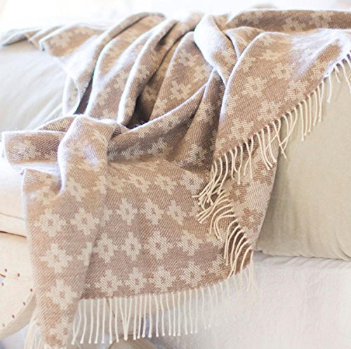 100% Baby Alpaca Throw / Afghan Blanket, Our Inca Cross Geometric Throw Contains No Synthetics (Beige w Ecru Fringe)