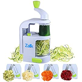 Spiralizer Vegetable Slicer - 4 IN 1 Blade Dial Veggie Spiralizer - Strongest-and-Heaviest Duty Vegetable Spiralizer- Vegetable Pasta Spaghetti Maker For Low Carb/Paleo/Gluten-Free Meals by Zalik 61 IMPRESSIVE KITCHEN TOOL: Say hello to your new favorite kitchen accessory. With the Zalik Spiralizer, you can make and enjoy healthy, low-fat pasta from vegetables and fruits in a quick and easy way! Whether you want to make a salad, a main vegan dish or an extraordinary side to impress your guests, this exquisite Spiralizer is the best way to go! spiralizer, spiralizer vegetable slicer, veggie spiralizer, vegetable spiralizer CREATE DELICIOUS MEALS IN NO TIME! All you need to do is choose your favorite fruits or vegetables, use the suction base to fully stabilize your Spiralizer on your countertop, and quickly and effortlessly create the most healthy and delicious pasta! What's more, it's operated manually and super easy to take with you wherever you go! DESIGNED FOR LONG-LAST ING USE: Thanks to premium-quality blades made of stainless steel, this veggie pasta maker won't rust over time. Additionally, the plastic parts are BPA-free and designed to be extra durable to deliver long-term use for a lifetime!