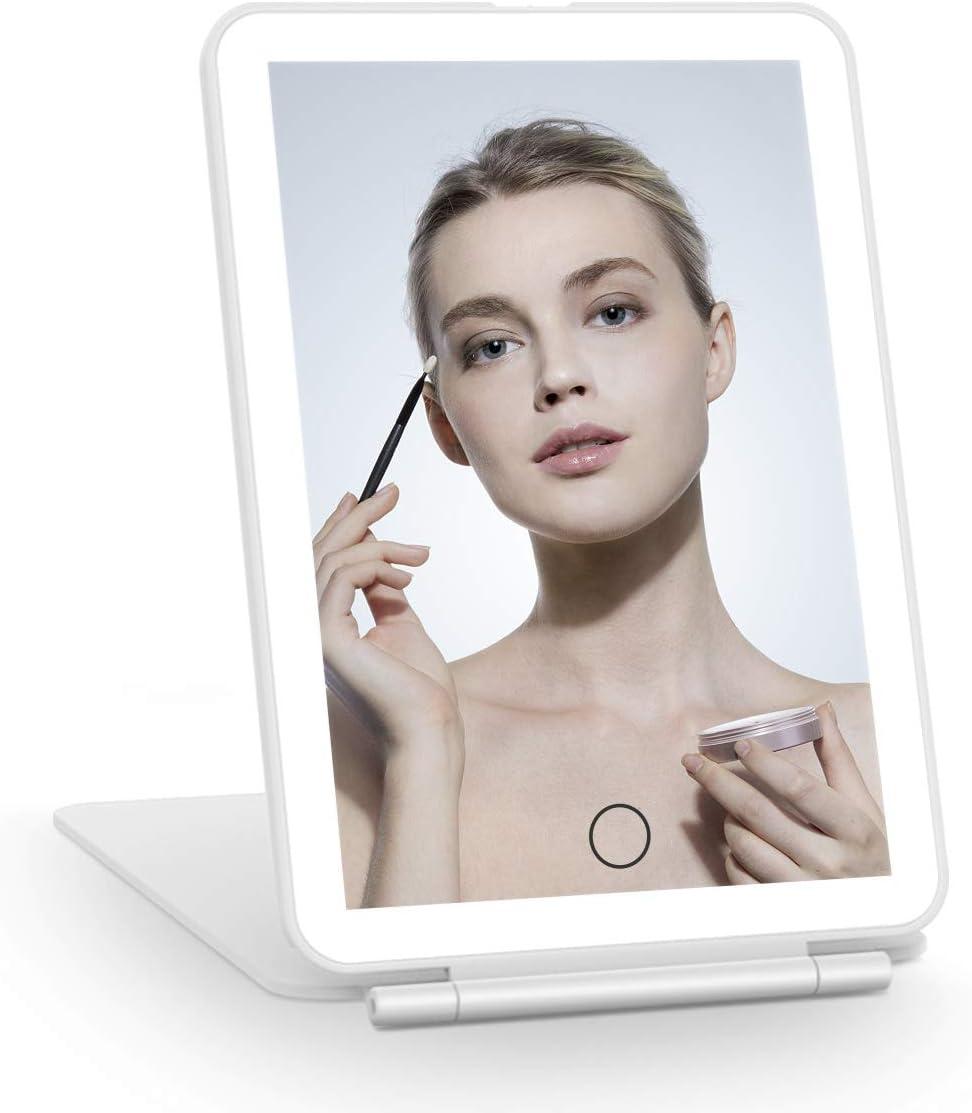 FASCINATE Espejo Maquillaje LED Recargable para Viajes, Espejos de Tocador con Iluminación Portátil Regulable, Espejo Compacto con Luces 72 LED Espejo de Belleza Iluminado Espejo Ligero (Blanco)