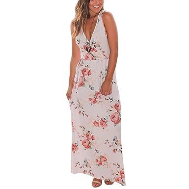 36f31b4671 Tonsee Femmes V Neck Boho Long Maxi soirée Beach Party Robe florale  Sundress (S,