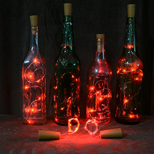 Homeleo Wine Bottle Cork Lights Copper Wire String Lights for Wedding, Festival, Party Decor (6Pack, Red) (Stopper Bottle Copper)