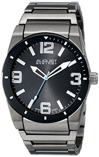 August Steiner Men's AS8152BK Black Swiss Quartz Watch with Black Dial and Gray Bracelet
