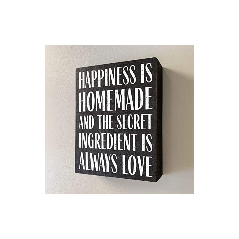 Elegant Signs Happiness is Homemade and The Secret Ingredient is Love 6x8 Wood Box Sign - Farmhouse Kitchen Decor - Home…