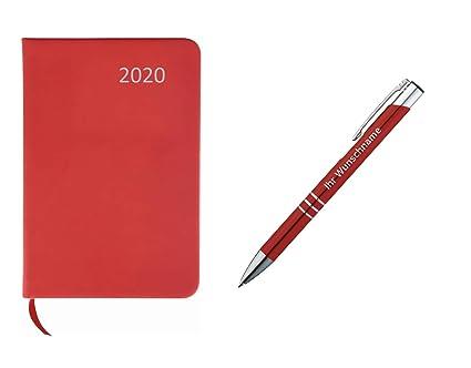 Agenda de bolsillo 2020 ca A7, color rojo + bolígrafo de ...