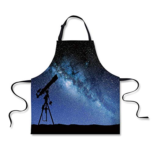 - iPrint Cooking Apron,Galaxy,Telescope Valley Under Starry Night Sky Milky Way Atmosphere Galaxy Astronomy,Dark Blue Black,3D Print Apron.29.5