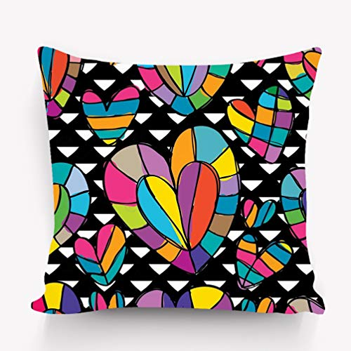 YILINGER Decor Cotton Velvet Vintage Home Throw Pillow Case 18 x 18 Inches Love Colorful Black White Free Drawing Design Style -