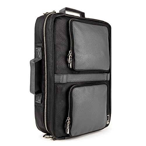 lencca-quadra-4-in-1-backpack-messenger-briefcase-tote-bag-for-up-to-156-inch-laptops-gray-black