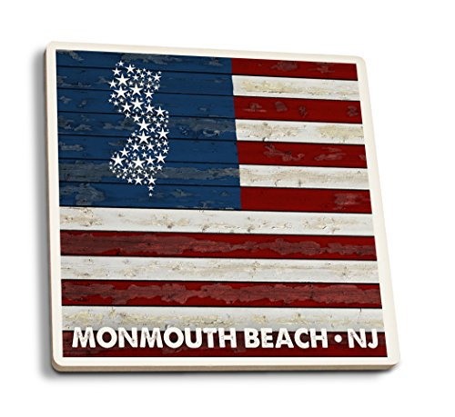 Lantern Press Monmouth Beach, New Jersey - Flag (Set of 4 Ceramic Coasters - Cork-Backed, Absorbent)
