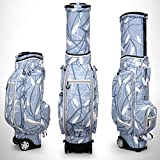 PGM Women Wheeled Golf Standard Carry Bag Compound Nylon Golf Clubs Bag 4 Exquisite Patterns for Choice -Free a Golf Bag Rain Cover