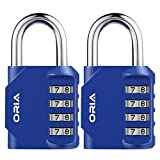 ORIA Combination Lock, Padlock Set, 4 Digit Combination locks, Metal and Plated Steel Material for School, Employee, Gym Or Sports Locker, Case, Toolbox, Fence, Hasp Cabinet and Storage, Pack of 2 (Blue)