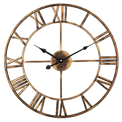 Large Wall Clock, European Vintage Clock with Roman Numerals, Indoor Silent Battery Operated Metal Clock for Home, Living Room, Cafe Decor - 18 inch, Brushed Gold