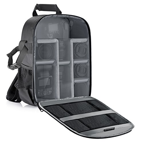 Neewer Camera Bag Waterproof Shockproof Partition 11x6x14 inches/27x15x35 centimeters Protection Backpack for SLR, DSLR, Mirrorless Camera, Lens, Flash, Battery and Other Accessories (Gray Interior)