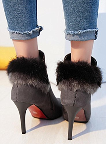Faux bootes Up Zip Side Pointed Toe Sexy Grey Easemax Women's Suede Stiletto High Heeled Ankle SwnTBnq1