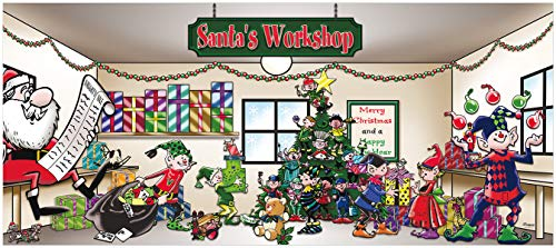Victory Corps Outdoor Christmas Holiday Garage Door Banner Cover Mural Décoration 7'x16' - Santa's Workshop Outdoor Christmas Holiday Garage Door Banner Décor Sign 7'x16' from Victory Corps