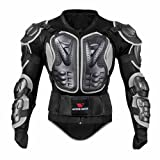 WOSAWE BMX Body Armor Mountain Bike Body Protection Long Sleeve Armored Motorcycle Jacket, Black XX-Large