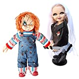 "Bride of Chucky Collectors Memorabilia: 26"" Chucky & Tiffany Plush Doll Set Bundled With Stands"