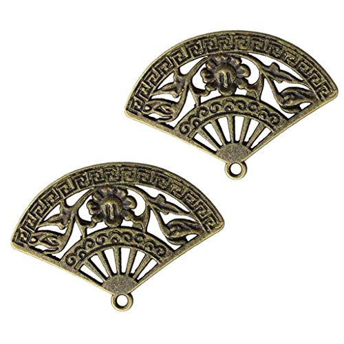 SM SunniMix 10Pcs Antique Bronze Fan Cake Charm Pendant Beads Jewellery Making Crafting - Hand Fan, as described - Fan Pendant Bead
