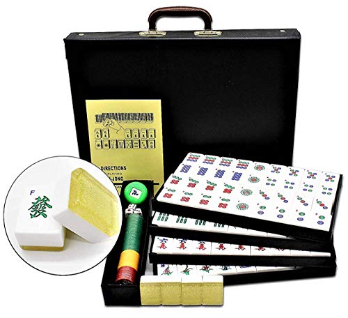 Mah Jongg Bamboo (Chinese Mahjong X-Large 144 Numbered Melamine Tiles 1 1/2 Inch X-Large Gold Tile with Carrying Travel Case Pro Complete Mahjong Game Set - (Mah Jong, Mahjongg, Mah-Jongg, Mah Jongg, Majiang) ~ Cafolo)