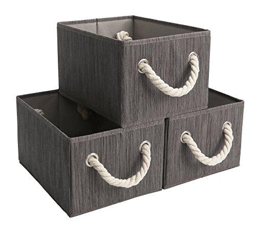 StorageWorks Polyester Storage Box with Strong Cotton Rope Handle, Foldable Basket Organizer Bin, Dark Brown, Bamboo Style, Medium, 3-Pack