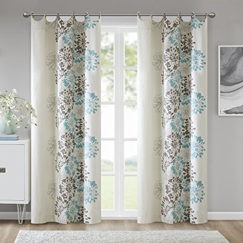 rtains For Living Room, Contemporary Modern Grommet Curtains For Bedroom, Anaya Floral Fabric Brown Window Curtains, 50x63, 2-Panel Pack (Contemporary Curtain Fabric)