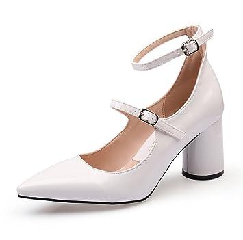 LBDX Koreanische Version Dicke Ferse Spitz Shallow Mund High Heels Mitte Ferse Einfache Sexy Damenschuhe (Farbe...