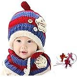 【GOLDEN EGGS】選べる4色 ニット帽子&マフラー セット リボン付き キッズ子供用 誕生日、お祝い、プレゼント かわいい防寒帽子 (赤&濃い青)