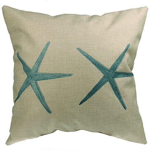 Luxbon - Green Starfish Seashore Cotton Linen Sofa Chair Seat Throw Pillow Case Cushion Cover 18 x 18