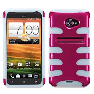 MyBat HTCEVO4GLTEHPCSK007NP Metallic Fishbone Protective Case for HTC EVO 4G LTE - 1 Pack - Retail Packaging - Hot Pink/T-Clear
