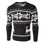 KingField Men's Fashion O-neck Snow Reindeer Printing Casual Long Sleeve Sweater