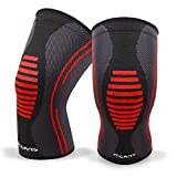 Knee Compression Sleeve, 1 Pair, Best Knee Brace Support for Running & Arthritis, Squats & Workouts, Crossfit, MCL, ACL, Injury Recovery, Pain Relief, Weightlifting, Basketball, Men & Women,Black XXL