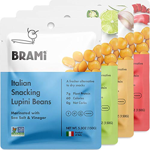 BRAMI Lupini Beans Snack, Variety Pack | 7g Plant Protein, 0g Net Carbs | Vegan, Vegetarian, Keto, Mediterranean Diet | 5.3 oz (4 Count) (Good Foods For Diabetics To Snack On)