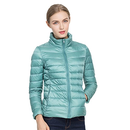 Short Plain Warm Women's Vest Down Lightweight Quibine Stripe Packale Blue Jacket xqfYFSTZw