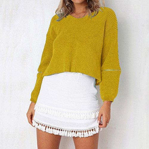 Automne Pulls Rond Sweater Pullover Jaune Col Sweatshirt Tricot Sweat Casual en Longues Printemps Top Manches Femme Dihope ESxqwZ4