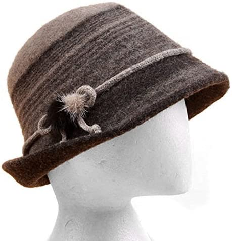 LOCOMO Women Lady Wool Duffle Velvt Stripe Ribbon Bucket Flat Cap FFH215BLK