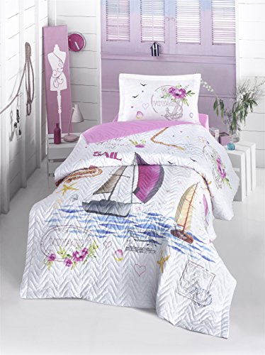 Voyage Girls bedding set, Sailboats Themed, 100% Cotton Full/Twin Size Multifunctional Four Season Nautical Bedding Set, Quilted Bedspread/Duvet Cover Set, Made in Turkey, 3 PCS, Pink&White (Turkey Quilted)