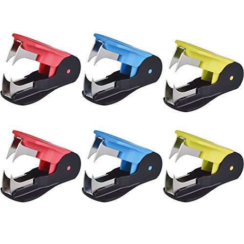 Shappy Staple Remover Staple Pull Office Staple Removal Tool for Staples, Yellow, Blue, Pink, 6 Pieces
