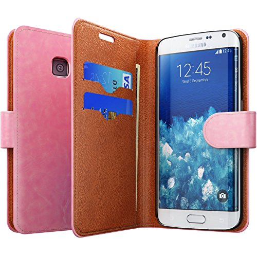 Galaxy S6 Edge Wallet Case - Pink Leather [Magnetic Stand] - Horizontal Flip Cover with Credit Card Slots - Fits Best for Samsung Galaxy Edge S6 - Great for Girls, Women and Kids