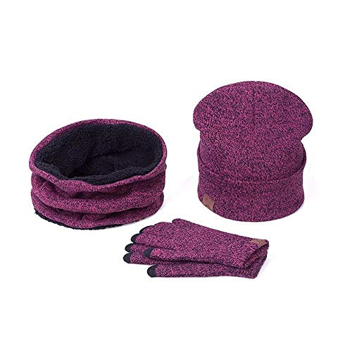 Beaded Sheer Gloves (CHIDY Scarves Man Ladies 3pc Winter Soft Knit Beanie Hat Scarf Screen Gloves Set (Hot Pink))