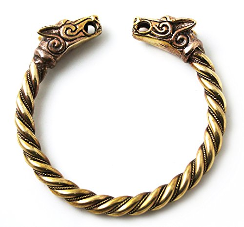 Star Fox Wolf Costume (BIG SIZE Bronze Norse Viking Fenrir Wolf Head Twisted Cable Bangle Cuff Bracelet Arm Ring Pagan Jewelry)