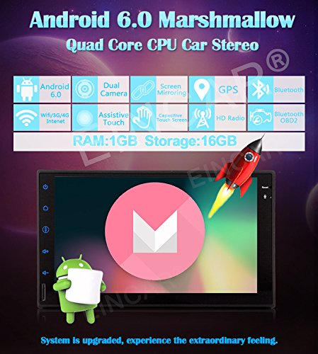 Universal Double Din Androoid 6.0 Marshmallow Car Stereo System in Dash Audio Radio Player GPS Navigation WiFi 7 inch Screen Mirroring Automotive Head Unit Coloful Key Lights 2 din Video Player GoodWill Sky ZYH.AN60271GNN8