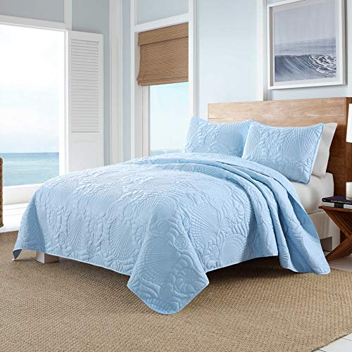 Three Light Seashell - Pioneer Home Textile Seashell 3-Piece Ultrasonic Quilt Set, Brushed Microfiber, Soft and Breathable, Lightweight, Full/Queen, Light Blue